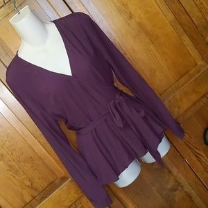 Loft Burgundy Wrap V Neck Blouse Small